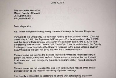 Governor Ige releases $12 million to County of Hawaiʻi for disaster response