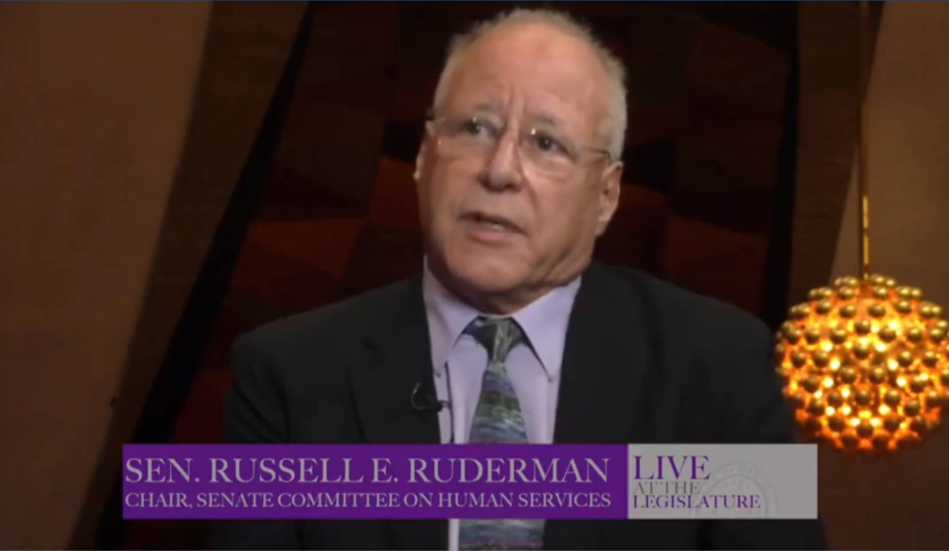 Video screen grab of Senator Ruderman sharing issues important to Kau and Puna